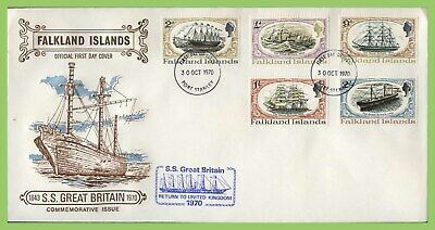 Falkland Islands 1970 S.S. Great Britain Ship set First Day Cover, Port Stanley