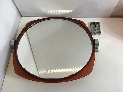 60s 70s Vintage Retro Round Redish / Brown Clear Plastic Wall Mirror Mid Century