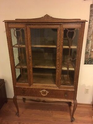 Antique Queen Anne Style Oak China Cabinet With Cabriole Legs