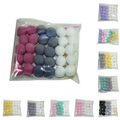 Qa_ 30 Pcs Wool Felt Balls Garland Pom Room Decor Party Pom Hanging String Cla