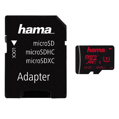 64GB Micro SD SDXC Memory Card & USB Adapter UHS-I U3 80MB/s Mobile GoPro Hama