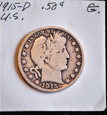 1915 D 50C  Barber Half Dollar Vg Nice Color And Surfaces