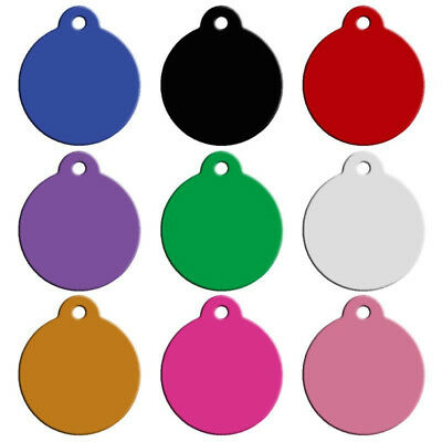 QA_ 10Pc Aluminium Round Pet Anti-Lost ID Name Phone Number Dog Tag Pendant Re