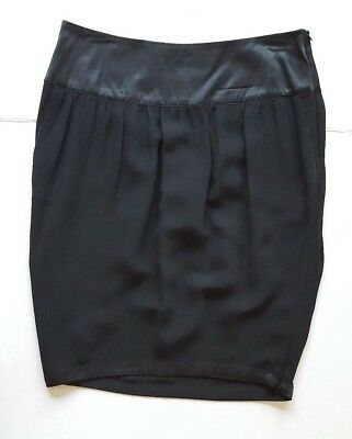 Stella Mccartney For H&M Women's Silk Black Pencil Skirt With Side Vents 38