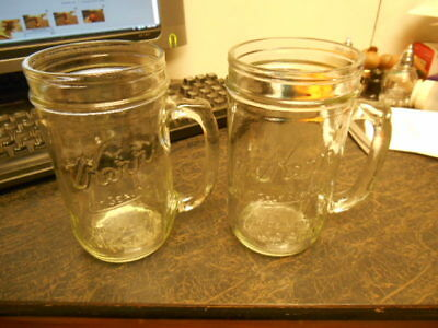2 Kerr Wide Mouth 20 oz Drinking Jars Old Fashioned Mugs Mason Vintage