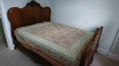 Antique French Mahogany Double Bed With Sprung Base
