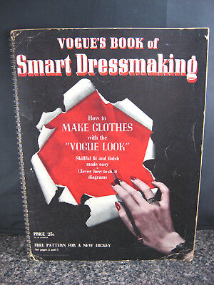 Vintage 40s Vogue's Book of Smart Dressmaking 1942 Sewing Patterns Dresses