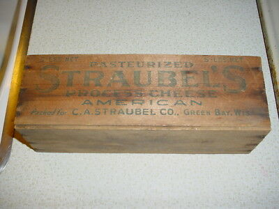 Vintage Wood Crate Straubels American Cheese Green Bay Wisconsin Dairy Ad