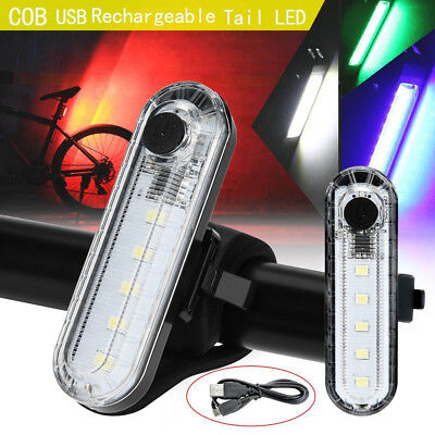 USB Rechargeable Bike Bicycle Cycling 4 Modes 5 LED COB Rear Tail Lights Lamps