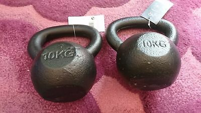 10kg Kettle Bells x2 Solid Cast Iron Collect PL207