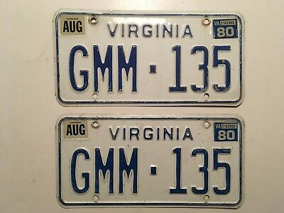 1980 Virginia License Plate PAIR Plates Ford Chevy Dodge Camaro Corvette Mustang