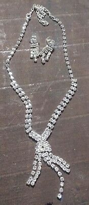 Prom Ball Art Deco Style Necklace with Prong Set Clear Diamante Rhinestones