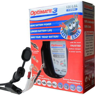 Optimate 3 Global 12v Motorcycle Battery Charger AGM/MF STD GEL 2Ah to 35Ah
