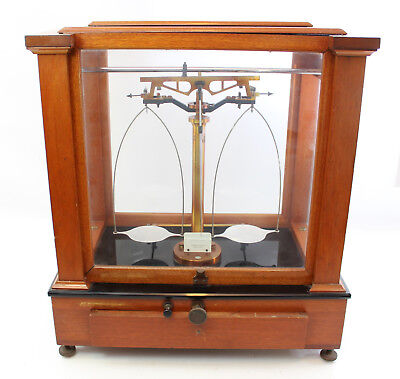 Vintage Elmer & Amend Scale Laboratory Analytical Apothecary Wood Glass Case