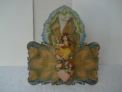 """EXTRA LARGE VICTORIAN PARCHMENT VALENTINE - STAND-UP - 10"""" x 9"""""""