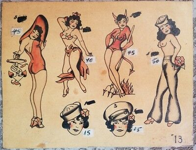 vintage original james breezy brizendine bright 1950s pinup devil tattoo flash