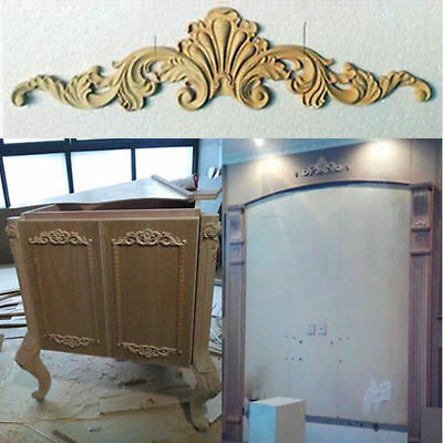 Qa_ New Unpainted Wood Oak Carved Corner Onlay Applique Furniture Home Decor D