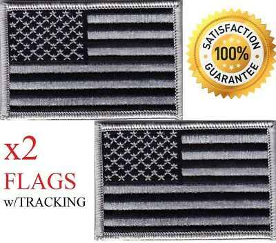 Usa Flag, Gray & Black - American Pride-Biker-Shoulder/Iron On Embroidered Patch