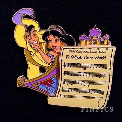 LE Disney pin Best Original Song Music Sheet Aladdin &  Jasmine Whole New World