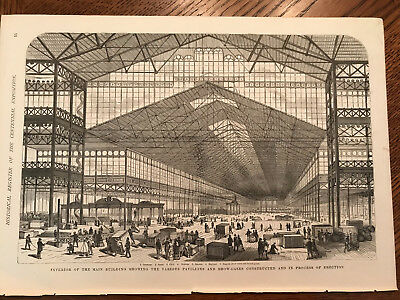 Rare Centennial Print Engraving 1876 Main Building in Process of Erection