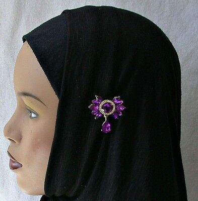 PURPLE Fashion Hijab Pin Elegant Headscarf Lapel Pin Rhinestone Scarf Pin