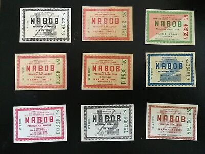9 Different 1950's Vintage Canadian NABOB Serialized Coupons
