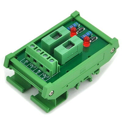 2 Channel Fuse Interface Module, for DC 5~48V, Din Rail Mount,w/ Fail Indicator.