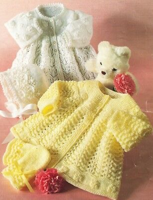 Baby Knitting Pattern MATINEE JACKET copy Bonnets and Mitts