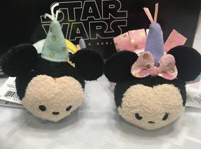 "Disney Birthday Mickey & Minnie Mouse Tsum Tsum 3 1/2"" Mini Plush"
