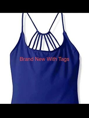 Girls Royal Blue Dance Gymnastics Strap Halter Top By Capezio Size Medium