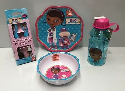 Disney Doc Mcstuffins Kids Melamine Dinner Plate / Bowl / Cutlery / Drink Bottle