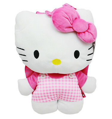 ee020a704 Hello Kitty Checker Plush Backpack, NEW for Kids Girls Sanrio Pink White