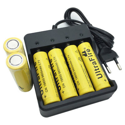 6pcs 18650 Batterie 9800mAh Flat top 3.7V Li-ion Rechargeable Battery&Chargeur