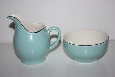 Old Small Blue / Green Colour Ceramic Jug & Bowl Set - Very Good Condition