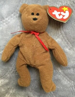 Vintage Ty Beanie Baby Brown Teddy Bear with Tag 1990 Stuffed Plush Doll Toy
