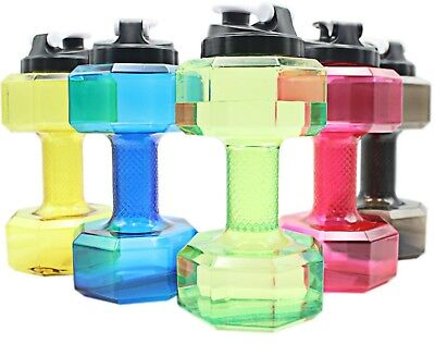 2.2L Water Bottle Sports Dumbbell Dumbell Shaped Gym Jug Workout Fitness Protein