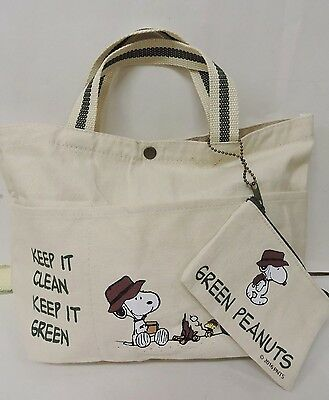 Cream/Green Snoopy  Printed Girl/Teen Small Size Causal Hand Bag