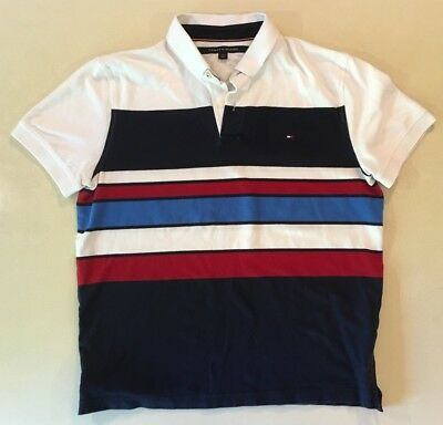 33b945fe Tommy Hilfiger Retro Vintage Stripe Polo Rugby Collar Button Shirt Large