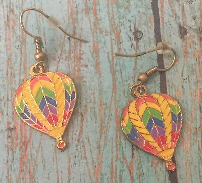 Hot Air Balloon Earrings Rainbow Multicolor Dangle Fishhook Goldtone Novelty