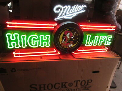 Vtg Miller High Life Beer Sign Old Neon Girl On The Moon Light Bar Pub Man Cave