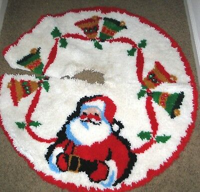 "Vintage Christmas Tree Skirt Hand-Hooked Approx. 40"" Diameter w/ Hole for Stand"