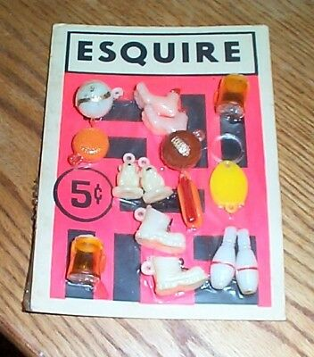 Vintage display card 5c charms Esquire FREE SHIPPING #z10