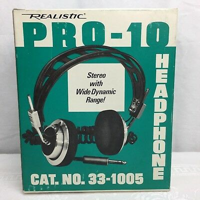 NOS Realistic Pro-10 Headphones 33-1005 Stereo w/ Wide Dynamic Range Radio Shack
