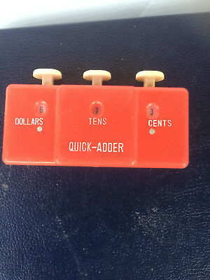 RED Vintage MONEY COUNTER Quick Adder Hong Kong rare click counter 60's
