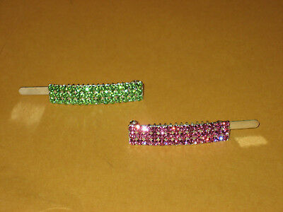 2 SOHO Crystal Barrettes Magnet closure 1 pink, 1 green