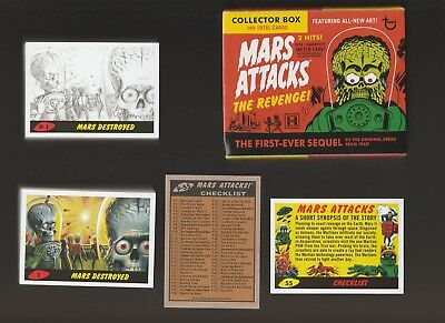 2017 Topps Mars Attacks The Revenge 110 Card Color & Pencil BASE SET ONLY W/ Box
