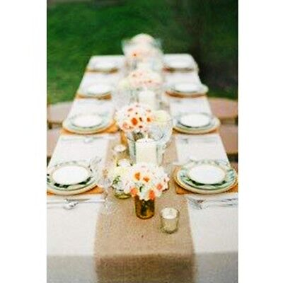 """Rustic Boho Burlap Table Runner for Weddings, Parties, and Home Decor - 9""""x72"""""""