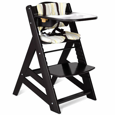 Baby Toddler Wooden Highchair Dining Chair Adjustable Height w/ Removeable  Tray - ANTIQUE WOODEN HIGHCHAIR With Feeding Tray Infant Wood Seat High