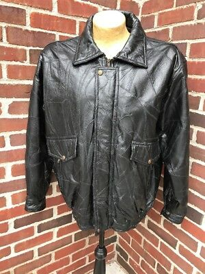 Mens Black Genuine Leather BOMBER JACKET Flight Coat Motorcycle Biker Lined New