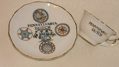 Vtg. Pennsylvania Dutch -small souvenir plate/saucer and cup-different Hex signs